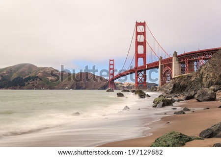 View of Golden Gate Bridge from Marshall Beach in San Francisco - stock photo