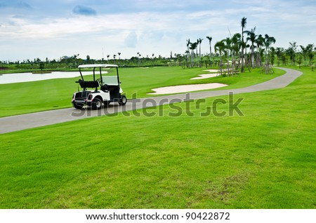 view of golf cart at golf course, Thailand