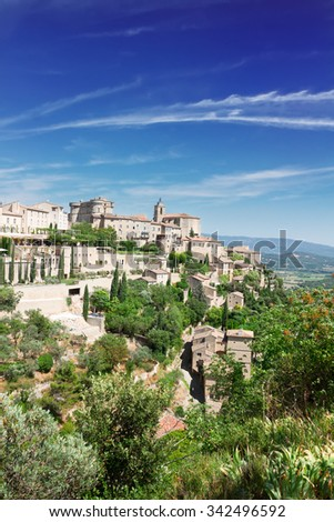 view of Gordes, famouse old town fortress of Provence, France