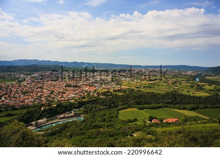 View of Gorizia and Nova Gorica from sabotin mountain - stock photo