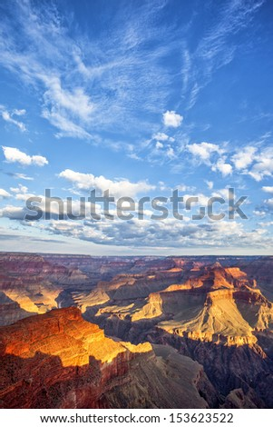 view of Grand Canyon and sky at sunrise - stock photo