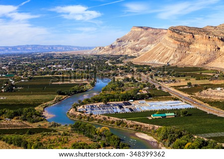 View of Grand Junction, Colorado With the Colorado River - stock photo