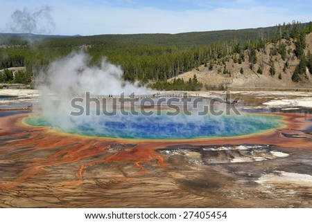 View of Grand Prismatic Spring in Yellowstone