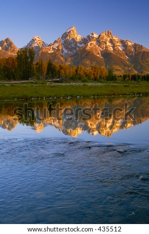 view of Grand Teton from Snake River, Grand Teton National Park, Wyoming