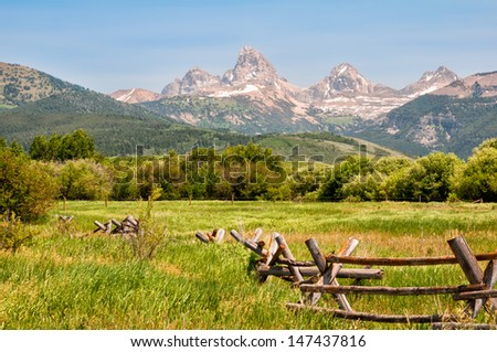 View of Grand Teton mountain range from Idaho. - stock photo