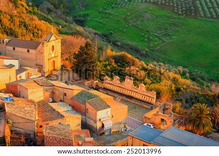 View of Granfonte famous fountain in Leonforte, Sicily - stock photo