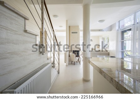 View of granitic worktop in bright interior