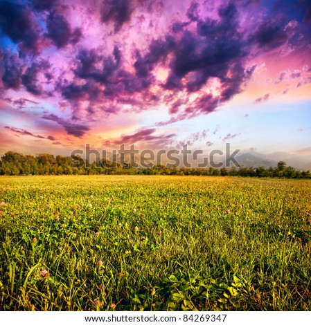 View of grass field, trees and mountains at dramatic purple sky with clouds background - stock photo