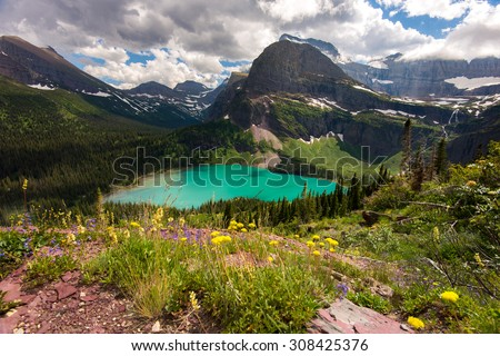 View of Grinnell Lake from overlook - stock photo