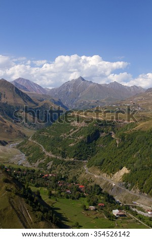 View of Gudauri, Pasanauri and the canyon of White Aragvi river from Lomisi mountain, Pasanauri, Georgia.