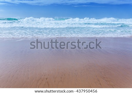 View of Guincho Beach, Cascais, Portugal. Empty beach. No people. Beauty in nature. Waves on the Atlantic ocean. Beautiful marine landscape. - stock photo