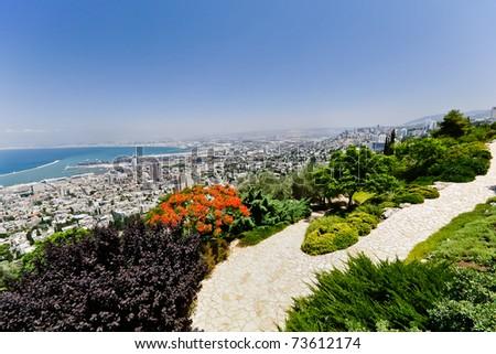 View of Haifa from Bahai'i gardens. - stock photo