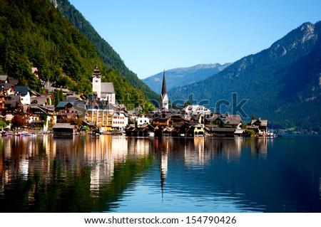View of Hallstat village , Austria - stock photo