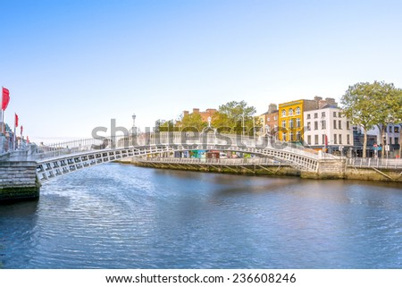 View of Hapenny Bridge over Liffey river in Dublin, Ireland