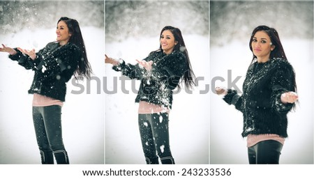 View of happy brunette girl playing with snow in winter landscape. Beautiful young female on winter background. Attractive young woman in warm soft clothes outdoor in a winter day - stock photo