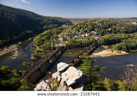 View of Harpers Ferry, West Virginia, USA from the Maryland side. - stock photo