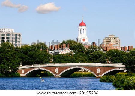 View of Harvard University and pedestrian bridge on Charles River, Cambridge, Massachusetts