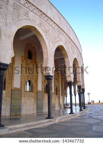 View of Hassan II Mosque and Minaret in Casablanca, Morocco