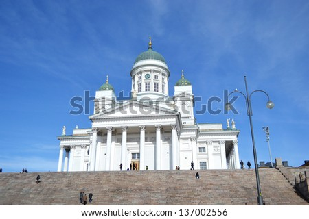 View of Helsinki Cathedral at sunny day, Finland