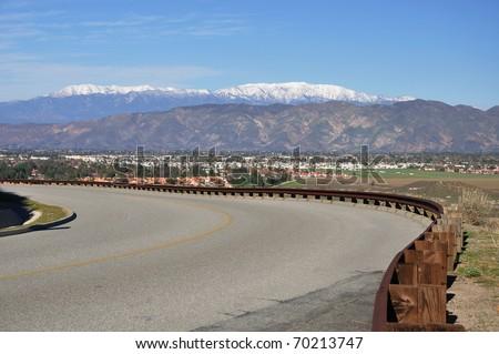 View of Hemet, California and mountains. - stock photo