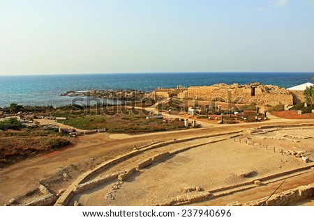 View of Herods Promontory palace ruins from amphitheater in Caesarea Maritima National Park, a city built by Herod the Great. The archaeological ruins are on the Mediterranean coast of Israel.
