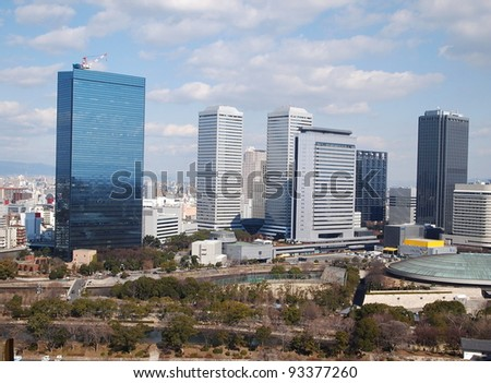 view of high buildings and cityscape - stock photo