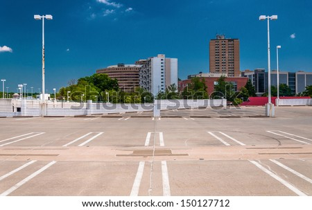View of highrises in Towson, Maryland from the top of a parking garage. - stock photo