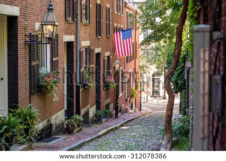 View of historic Acorn Street in Boston MA USA - stock photo
