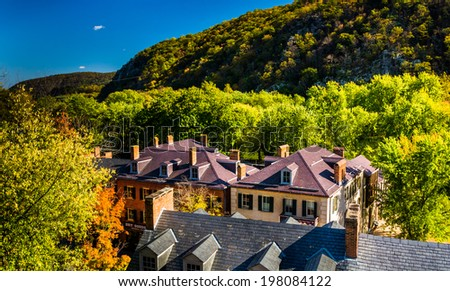 View of historic buildings on Shenandoah Street in Harpers Ferry, West Virginia. - stock photo
