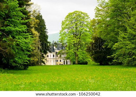 View of historic Mansion at the forest park - stock photo