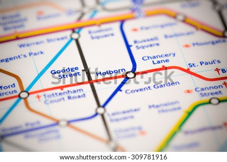 View of Holborn station on a London subway map. - stock photo