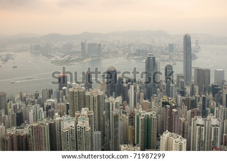 View of Hong Kong from Victoria Peak in the early evening - stock photo