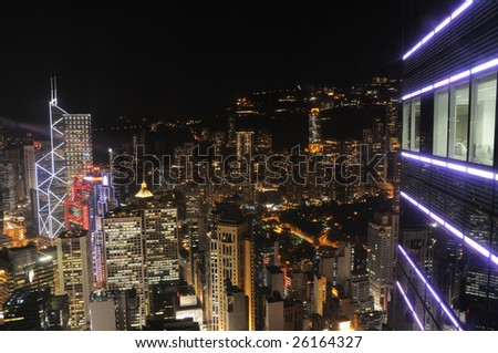 View of Hong Kong night scene from a high-rise office building