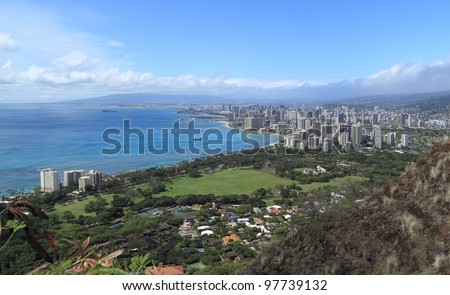 View of Honolulu and surrounding area from the summit of Diamond Head Crater - stock photo