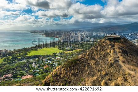 View of Honolulu Downtown from Diamond Head Hawaii - stock photo