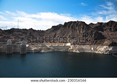 View of Hoover Dam and the Colorado River Bridge - stock photo