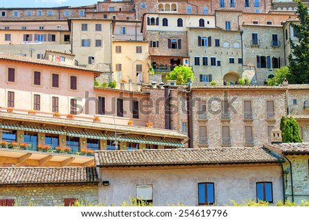 View of houses in Assisi - stock photo