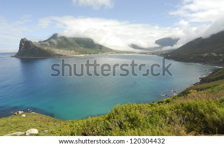 View of Hout Bay from Chapmans Peak - Cape Town, South Africa - stock photo