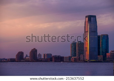 View of Hudson River and the Jersey City. USA - stock photo