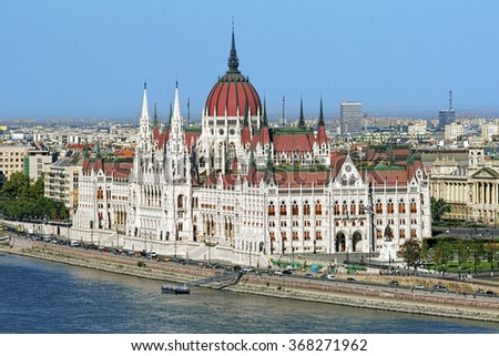 View of Hungarian Parliament Building from Castle Hill in Budapest, Hungary