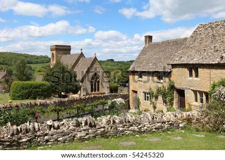 View of idyllic Cotswolds village of Snowshill near Broadway, England - stock photo