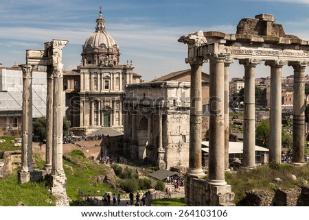 View of Imperial Fora from Monte Tarpeo street - Rome (Italy) - stock photo