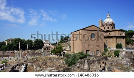 View of Imperial Forum in Rome. Ancient ruins of Rome,Italy