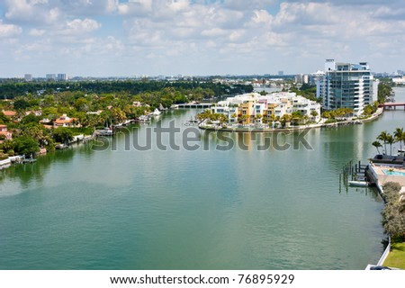 View of Indian Creek Canal and Intracoastal in Miami Beach. - stock photo