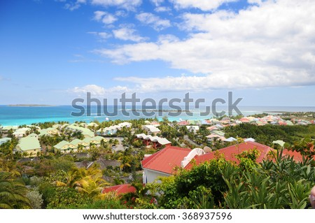 View of Island of Saint Martin in the Caribbean - stock photo