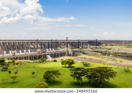 View of Itaipu Dam, hydroelectric power station between Brazil and Paraguay. - stock photo