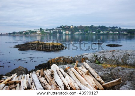 View of james bay in twilight, victoria, british columbia, canada