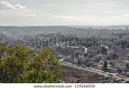 View of Jerusalem from Olive Mount, Israel - stock photo