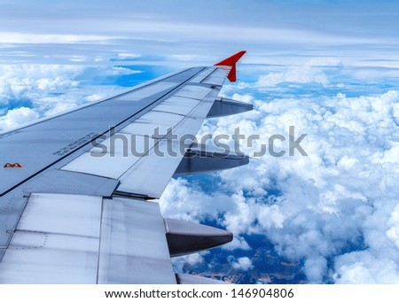 View of jet plane wing  - stock photo