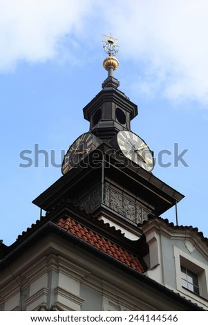 View of Jewish Town Hall clocks in Prague, Czech republic